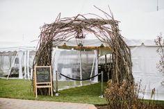 Rustic Wedding Arch. Rustic Wedding Reception.