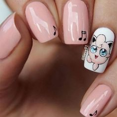 Jigglypuff nails  love Pokemon go for this!