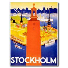Stockholm poster postcard