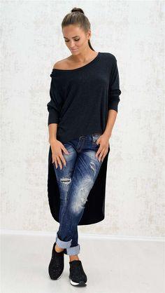 Μακρυμάνικη μπλούζα με ασυμμετρία | Χειμερινή Collection 2016 | Potre Fall Winter, Autumn, Winter Collection, Skinny Jeans, Pants, Fashion, Skinny Fit Jeans, Moda, Fall