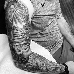 Amazing artist PG Tattoo from Arizona awesome St. Michael's good vs… Amazing artist PG Tattoo from Arizona awesome. Cloud Tattoo Sleeve, Best Sleeve Tattoos, Sleeve Tattoos For Women, Tattoo Sleeve Designs, Tattoos For Guys, Angel Sleeve Tattoo, Dove Tattoos, Forarm Tattoos, Cool Forearm Tattoos