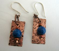 Hammered Copper Earrings with Lapis Lazuli Blue by fitzidesigns, $20.00