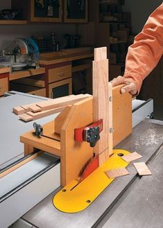 This table saw tenon jig holds a workpiece vertically or at an angle and adjusts to fit any rip fence.