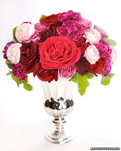 Valentine's Day Arrangement                                                        To make a vibrant Valentine's Day arrangement, use geranium leaves as greenery, and add roses in two colors for some extra flair.
