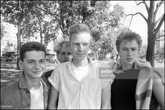 Depeche Mode, grouo portrait, Shepherd's Bush, London, 2 September 1982. Left to right: <a gi-track='captionPersonalityLinkClicked' href=/galleries/search?phrase=Dave+Gahan&family=editorial&specificpeople=537515 ng-click='$event.stopPropagation()'>Dave Gahan</a>, <a gi-track='captionPersonalityLinkClicked' href=/galleries/search?phrase=Martin+Gore&family=editorial&specificpeople=537532 ng-click='$event.stopPropagation()'>Martin Gore</a>, Andrew Fletcher, <a…