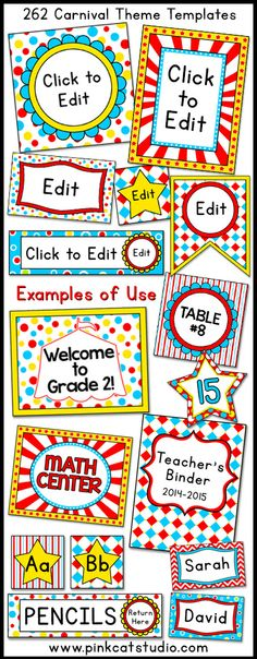 Carnival Circus Labels & Templates for Classroom Jobs, Binders, Supplies etc Let your imagination soar when you decorate your classroom . Circus Theme Classroom, Classroom Jobs, Classroom Displays, Preschool Classroom, Classroom Organization, Classroom Decor, Classroom Labels, School Carnival, Carnival Themes