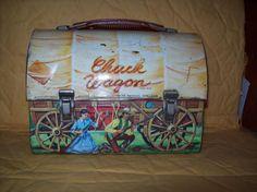 vintage 50's lunch box   Vintage Aladdin Dome Top Metal Chuck Wagon Lunch Box   eBay