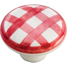Hickory Hardware English Cozy 1-1/2 in. White/Red Checker Cabinet Knob - $4.40 each - Home Depot