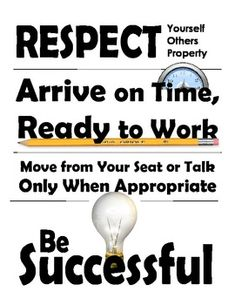 A bold, simple classroom rules poster. This clean design has four simple rules presented in a positive manner. Can be printed in a large poster or placed in student binders. Art Classroom Rules, Classroom Posters, Classroom Decor, Classroom Organization, Classroom Management, Class Management, Middle School Posters, Math School, School Classroom
