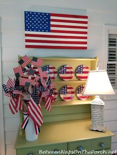 Celebrate the of July: 5 Decor Ideas, 5 DIY Crafts & 5 Patriotic Table Settings 5 Diy Crafts, Nautical Table, Wood Flag, 4th Of July Celebration, 4th Of July Decorations, Patriotic Party, Diy Party, Party Ideas, Cool Diy Projects