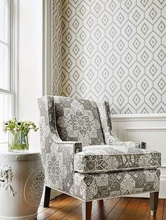 Bari Ikat - Grey wallpaper, from the Caravan collection by Thibaut 1970s Living Room, Cozy Grey Living Room, Teal Living Rooms, Living Room Chairs, Trendy Living Room Wallpaper, Dining Room Wallpaper, Of Wallpaper, Wallpaper Ideas, Bathroom Wallpaper