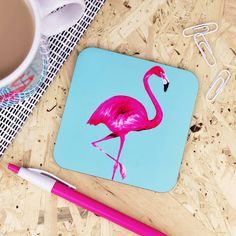 Paper Plane Flamingo Coaster (180 THB) ❤ liked on Polyvore featuring home, kitchen & dining, bar tools, paper drink coasters and paper coasters