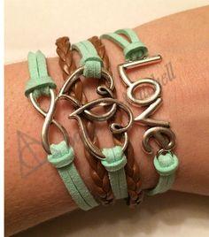 Amazing Charm Bracelets for Cheap! Mint, Brown, Love, Hearts, Infinity, Charm, Bracelet! Etsy.com