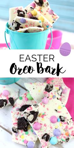 Make this easy and delicious Easter Oreo Bark Recipe in less than 5 minutes. It… Make this easy and delicious Easter Oreo Bark Recipe in less than 5 minutes. It's a simple and irresistible dessert idea that's perfect for Easter brunch! Desserts Ostern, Köstliche Desserts, Holiday Desserts, Holiday Baking, Holiday Treats, Dessert Recipes, Delicious Desserts, Recipes Dinner, 5 Minute Desserts