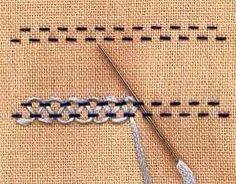 crewel embroidery tutorial double threaded running stitch tutorial - Learn how to embroider with the lexicon of embroidery stitches. Step by step tutorials on how to do the running stitch and it's variations.French Knot Stitch Method How To Do Stem Stitch Embroidery Stitches Tutorial, Sewing Stitches, Crewel Embroidery, Hand Embroidery Patterns, Embroidery Techniques, Ribbon Embroidery, Sewing Techniques, Cross Stitch Embroidery, Embroidery Designs