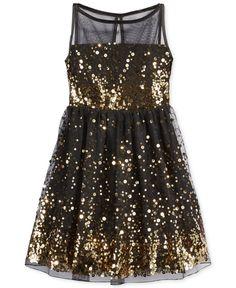 Crystal Doll Sequin Illusion Dress, Big Girls (7-16) | Kid ...
