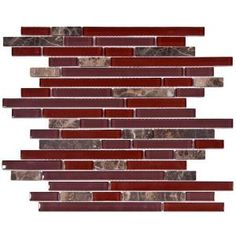 Merola Tile Tessera Piano Bordeaux 11 3 4 In X 11 7 8 In X 8 Mm Glass And Stone Mosaic Tile