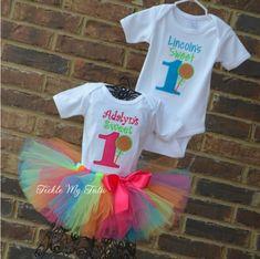 Boy/Girl Twin Sweet One Lollipop Themed Birthday Set...twin candyland birthday outfit...www.ticklemytutu.com