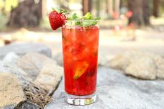 Easy Strawberry Mojitos recipe using fresh strawberries and plenty of fresh mint.