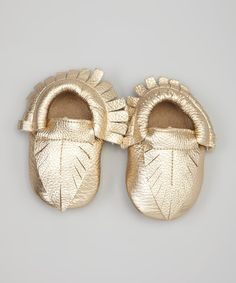 Gold Leaf Leather Moccasin Bootie