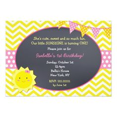Sunshine Chalkboard Birthday Party Invitations