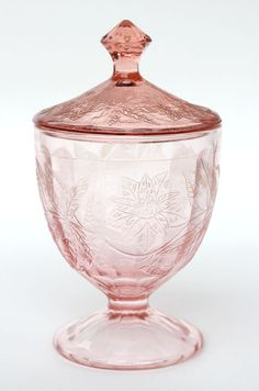 Depression Glass Floral Pink Candy Dish