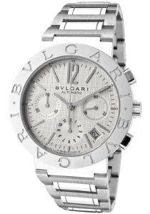 65b6ec36ead Bvlgari Bvlgari Off White Chronograph Dial Stainless Steel Automatic Mens  Watch BB38WSSDCH-N