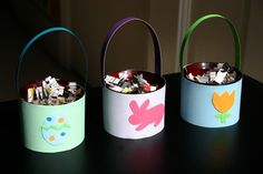 Loving Bonnie's upcycled Easter baskets made from old votive holders.