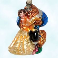 Beauty and the Beast, Christopher Radko Christmas Ornaments, 2000, 00-DIS-09, 00DIS09, Disney, Belle, yellow dress, dances, Beast, Mint with Tag