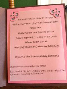 Andrea's commitment ceremony invitation