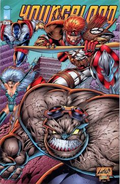 Youngblood by Rob Liefeld Image Comics Characters, Comic Book Characters, Marvel Characters, Comic Character, Comic Book Artists, Comic Books Art, Comic Art, Comic Book Superheroes, Comic Book Heroes