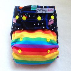 Pac Man Rainbow AI2 Poopy Doo Cloth Diapers & More