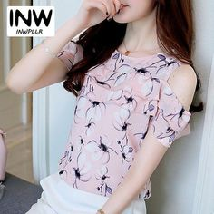 Summer Female Cold Shoulder Tops Ruffles Chiffon Blouse Mujer 2017 Casual Flowers Print Shirts Femme Elegant Women Blusas Size S Color pink Womens Fashion Casual Summer, Womens Fashion For Work, Chiffon Ruffle, Lauren, Shoulder Tops, Cold Shoulder, Pulls, Women's Fashion Dresses, Street Style Women