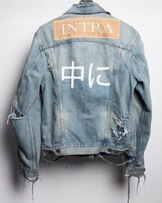 Distressed Denim Jacket with print Zerfetzte Jeans, Men Street, Street Wear, Urban Fashion, Mens Fashion, Street Fashion, Fall Fashion, Fashion Trends, Looks Jeans