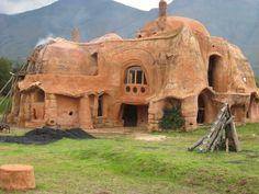 Cobb House, Villa de Leyva Cobb construction, making earthen blocks to build a free form structure.