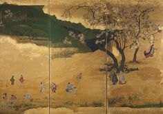 12. Cherry-Blossom and Maple-Leaf Viewing - Edo period (ca. 1630s)