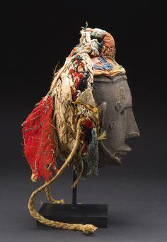 Okua Mask - Igala Idoma People - Nigeria Wood, dyed fabric, and natural fibers 14.5 x 8.5 x 7 inches 36.8 x 21.6 x 17.8 cm  CAVIN-MORRIS GALLERY: http://www.cavinmorris.com Masks Okua Mask - Igala...