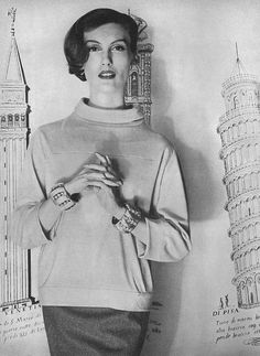 July Vogue 1956 Mary Jane is wearing a turtle neck jersey by Cristóbal Balenciaga.