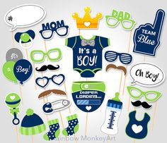 Baby Shower Photo Props It's a Boy Baby por RainbowMonkeyArt