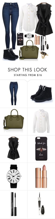 """Done"" by boneca-costa ❤ liked on Polyvore featuring Topshop, Givenchy, Loewe, Gucci, Rosendahl, Charlotte Tilbury, Lancôme and Noir Jewelry"
