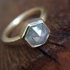 Gray Natural Rose Cut Hexagon Shape Diamond Ring 14K Yellow Gold Bezel Setting Geometric Diamond Engagement Ring by dooziejewelry on Etsy https://www.etsy.com/listing/476262180/gray-natural-rose-cut-hexagon-shape