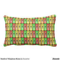 Rainbow Telephone Boxes Pillow