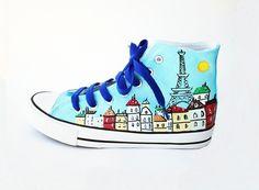 zapatillas pintadas paris 300x220 zapatillas pintadas paris Painted Sneakers, Hand Painted Shoes, Shoe Makeover, Shoe Refashion, Decorated Shoes, Funny Outfits, Slipper Socks, Shoe Art, Crazy Shoes