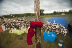 A sage tie, which has spiritual significance for Native American Plains tribes, hangs at the Seven Council camp, one of three encampments that have grown on the banks of the Cannon Ball River over the last month with the purpose of stopping construction of the Dakota Access oil pipeline near Cannon Ball, North Dakota.
