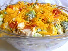 SPLENDID LOW-CARBING BY JENNIFER ELOFF: AMISH BROCCOLI, CHICKEN AND BACON SALAD - a whole meal, if you like! My hubby lost 3 lbs in one week eating this! Visit us at: https://www.facebook.com/LowCarbingAmongFriends
