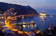 Catalina Island, California, Wayne and I were here and loved it. We took a boat ride to get to the island and rented a golf cart and road around the entire island .What a  beautiful island, not that big and so pretty. Romantic too   ohh la la