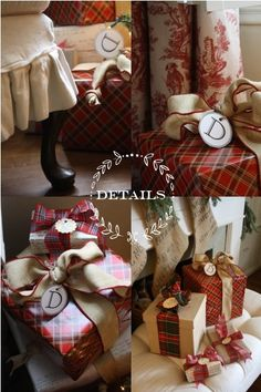 Plaid Wrapped Presents: Plaid paper from Michaels, script paper is from Ballard, letter tags from Martha (download link to free tags included)