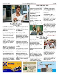23 best personal general newspaper templates images on pinterest