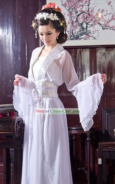 traditional+chinese+clothing | Traditional Chinese White Wide Sleeve Clothing for Women