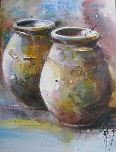 by Catherine Rey Painting Still Life, Still Life Art, Watercolor Artists, Watercolour Paintings, Watercolours, Beautiful Paintings, Painting Inspiration, Painting & Drawing, Art Drawings